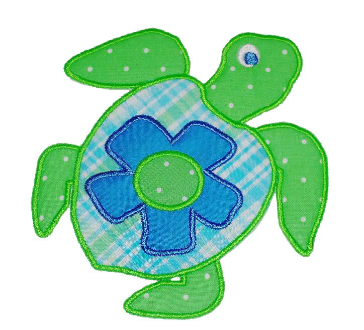 Girl  Turtle Applique Designs-turtle girl summer
