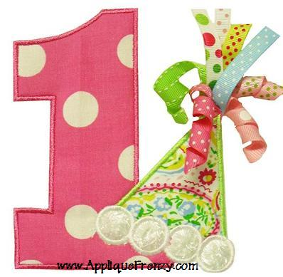 Number 1 Birthday Hat Applique Design-birhtday, number, hat, party hat, birthday hat