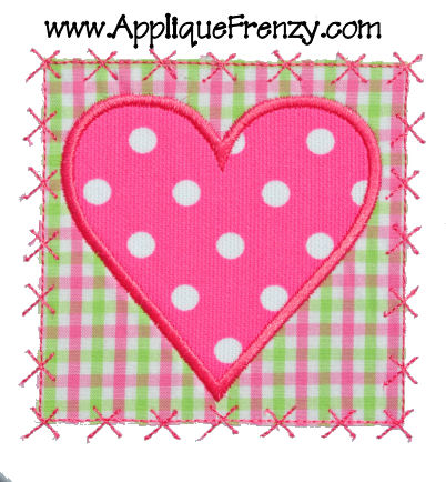 Heart Square X Patch Applique Design-