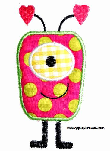 Alien Girl Applique Design-