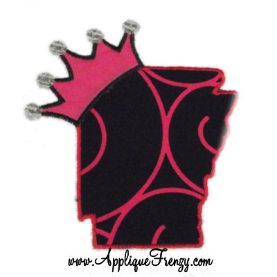 Arkansas Princess Applique Design-PRINCESS, ARKANSAS, STATE, CROWN