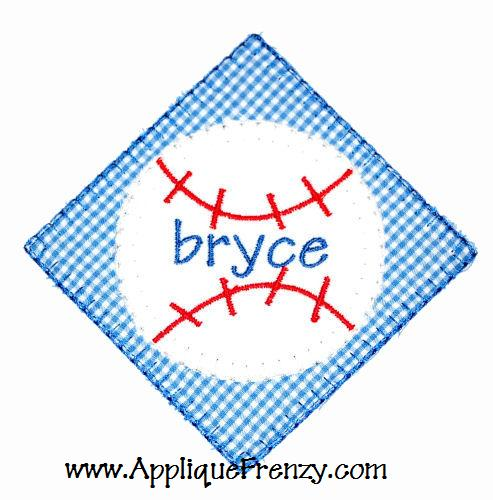 Baseball Diamond Patch Applique Design-