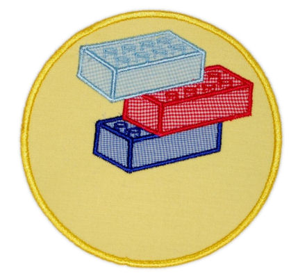 Building Block Circle Patch Applique Design-LEGO, TOYS, BOYS, BUILDING BLOCKS, DUPLO