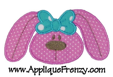 BOWdacious Bunny Face Applique Design-easter, easter bunny, bow bunny, bunny with bow, cute bunny, egg