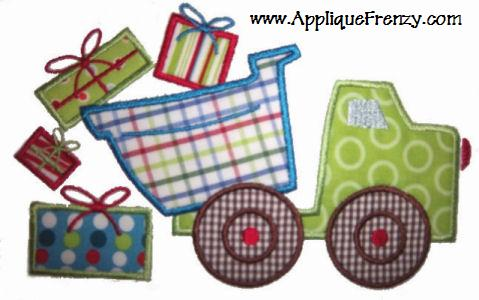 Christmas Dumptruck Applique Design-christmas, boys, boy, dumptruck, truck, santa, winter