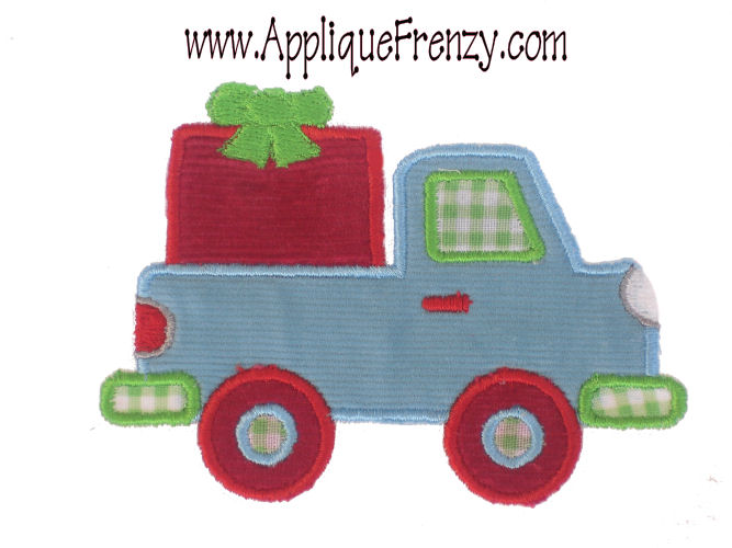Christmas Pickup Applique Design-christmas, pickup, dumptruck, truck, snowman, santa, winter, boy