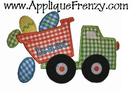 Dumptruck Eggs Applique Design-dumptruck, eggs, dumptruck eggs, boys, easter