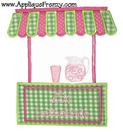 Lemonade Stand Applique Design-summer, spring, lemonade, beach, kids