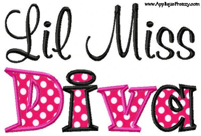 Lil Miss Diva Applique Design-lil diva, miss diva, miss, diva, girl, swanky
