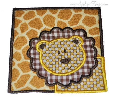 Lion Square Patch Applique Design-lion,square patch