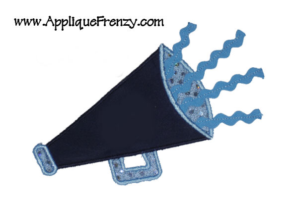 Ric Rac Megaphone Applique Design-cheer,unc, cheerleader,megaphone, spirit