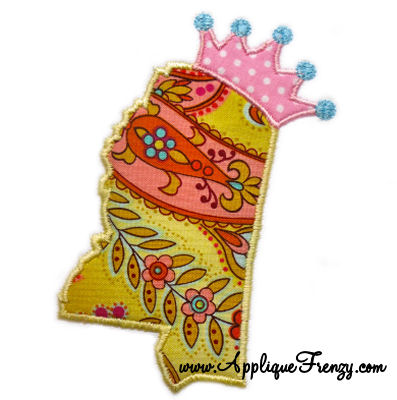 Mississippi Princess Applique Design-mississppi, rebels
