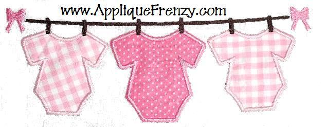 Onesie on a Line Applique Design-baby, onesie, newborn, clothes line