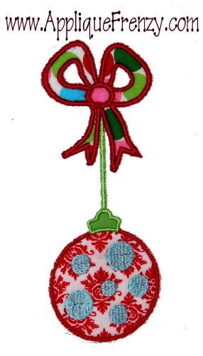 Ornament on a Bow Applique Design-