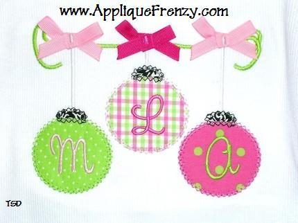 Christmas Ornaments on a String Applique Design-christmas, ornament, tree, winter