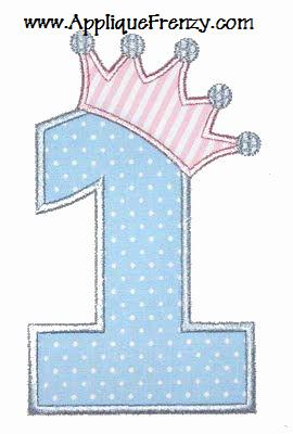 Princess Crown Birthday Numbers Applique Font Design-princess, crown, birthday, girls, queen