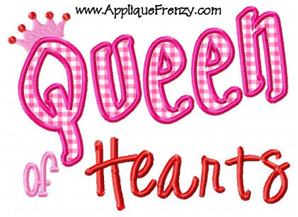 Queen of Hearts Applique Design-queen, hearts, valentine, cupid, love, kisses
