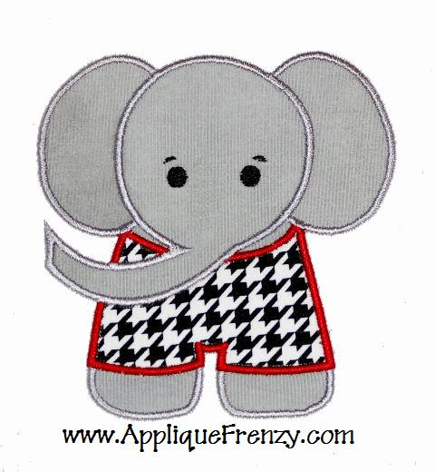 Elephant with Shirt Applique Design-elephant, bama, alabama,football,