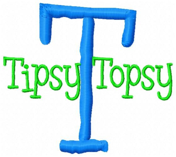 Tipsy Topsy Font-tipsy, font, monogram, embroidery letters