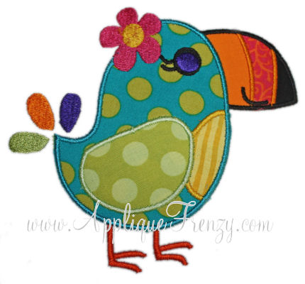 Toucan Female Applique Design-toucan, birds, tropical