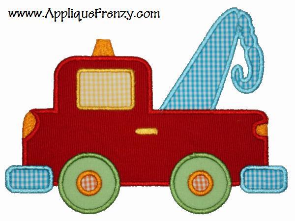 Tow Truck Applique Deisgn-tow truck, worker, tow