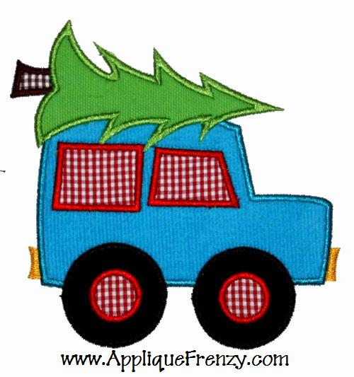 Bring the Christmas Tree Home Truck Applique Design-christmas, boys, winter, santa, tree, snowman