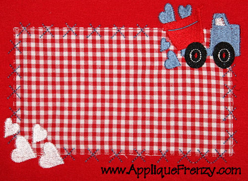 Valentine Dumptruck Rectangle Patch Applique Design-valentine, dumptruck, truck, pickup, boy, hearts, holiday
