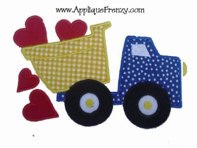 Dumptruck Hearts Applique Design-dumptruck, valentine, hearts, dumptruck hearts, boys