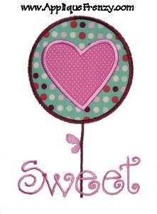 Valentine Flower Applique Design-valentine, flower, lollipop, cupid, love