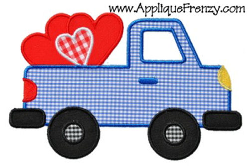 Valentine Pickup Truck Applique Design-valentine, pickup, heart, truck