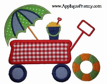 Going to the Beach with a Red Wagon Applique Design-red wagon, beach toys, umbrella, sand bucket, life preserver, summer, pool, beach