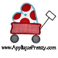 Wagon with Heart Applique Design-valentine, wagon, boy valentine, hearts, love, cupid