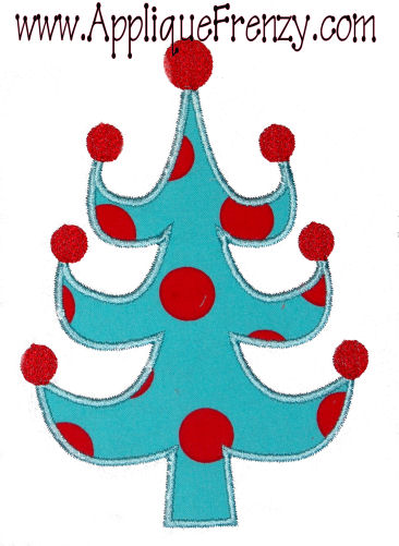Whimsical Christmas Tree Applique Design-