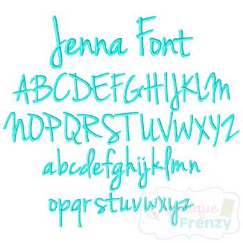 JENNA Embroidery Font-jenna font, itch to stitch font, ttf, embroidery, print font, script font, girl font, boy font, popular girl font, popular boy font