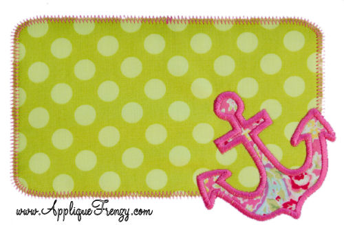 Anchor Rounded Rectangle Patch Applique Design-