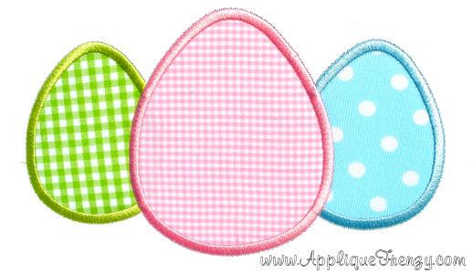 Egg Trio For Monogram Applique Design-bunny, egg, basket, easter, easter bunny, egg trio