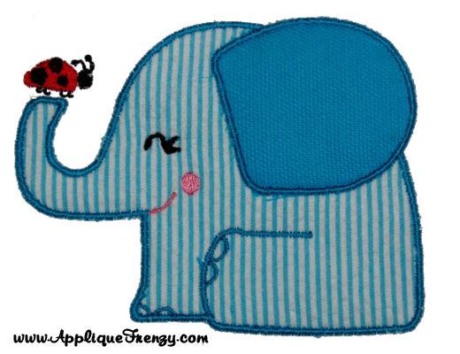 Elephant and Lady Applique Design-elephant, ladybug, lady, girly, spring, summer, animals