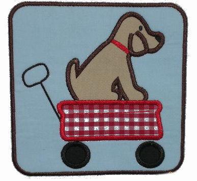 Lab in a Wagon Applique Design-dog, lab, wagon, puppy