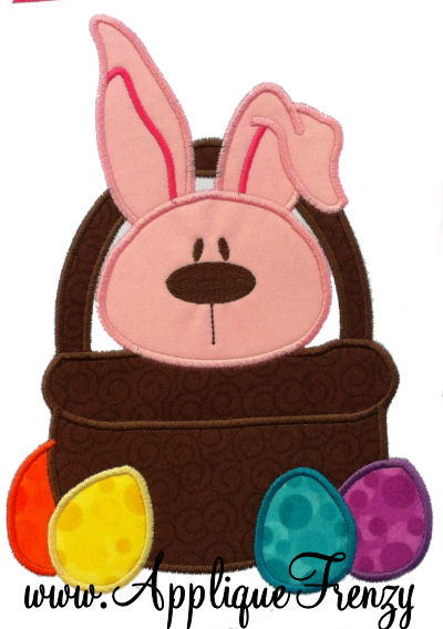 Bunny in a Basket Applique Design-