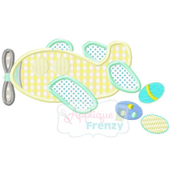 Easter Airplane Applique Design-airplane, eggs, easter, airplane eggs, easter, boy easter, basket, bunny