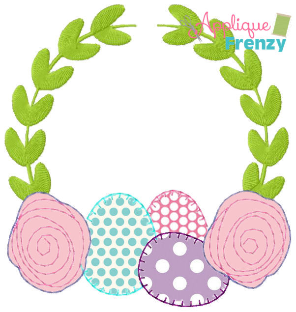 Eggs and Roses Vine Frame Applique Design-easter, egg, bunny, flowers, spring, applique