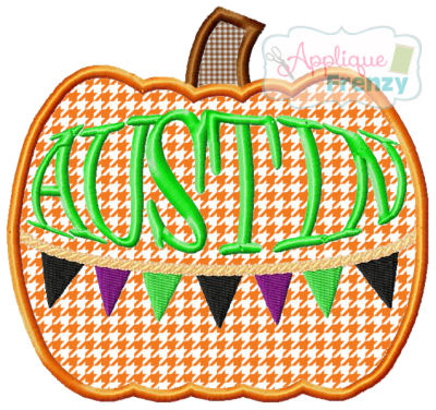 Pumpkin with Bunting Applique Design-fall, boho, hippy, celebrate fall, pumpkin