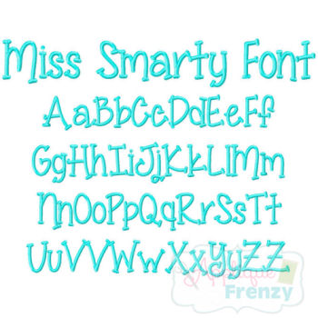 Miss Smarty Embroidery Font-font, miss smarty pants, boy fonts, girl fonts, monogram