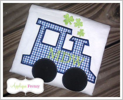 St. Patty's Shamrock Smoke Train Applique Design-