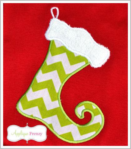 Elf Stocking Applique Design-