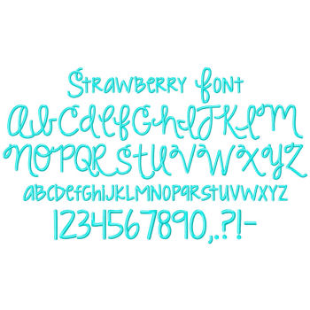 Strawberry Embroidery Font-embroidery font, strawberry limeade, embroidery, ttf