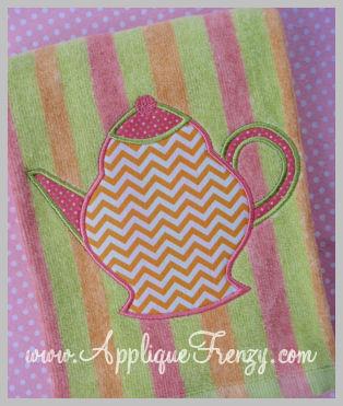 Teapot Applique Design-teapot, tea, tea cup