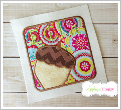 Acorn Square Patch Applique Design-