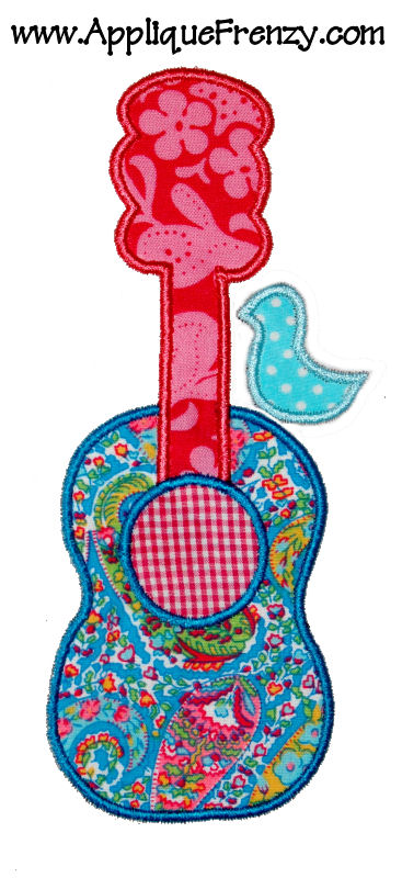 Guitar Bird Applique Design-guitar, bird, trendy, whimsical, fun,music