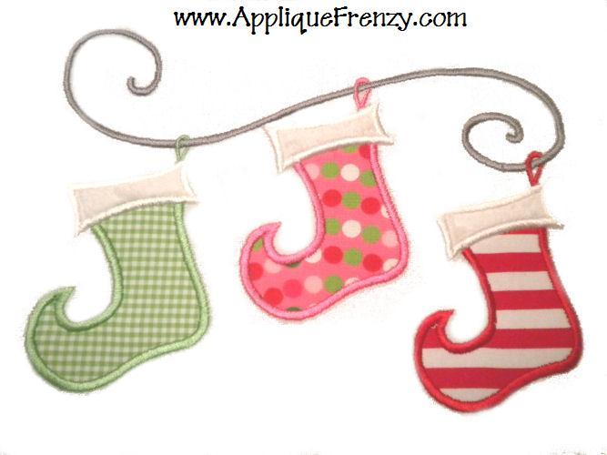 Stocking Whimsy Trio Applique Design-